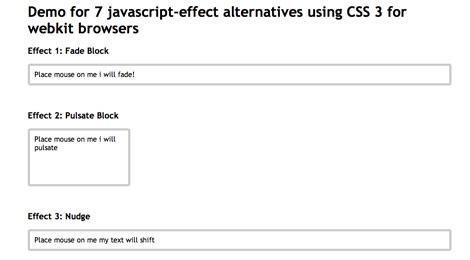 javascript effect alternatives