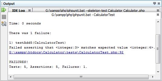 """显示测试结果的""""输出""""窗口"""