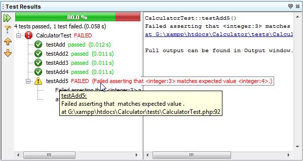 """显示工具提示的""""测试结果""""窗口"""