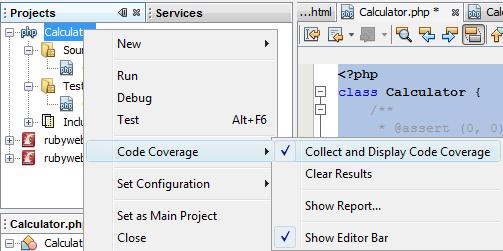从项目节点上下文菜单中启用代码覆盖率