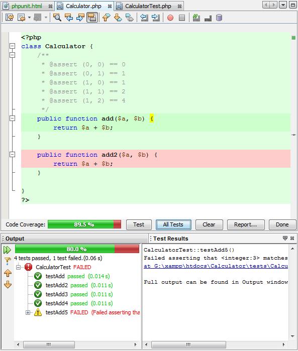 运行测试后的代码覆盖率编辑器栏