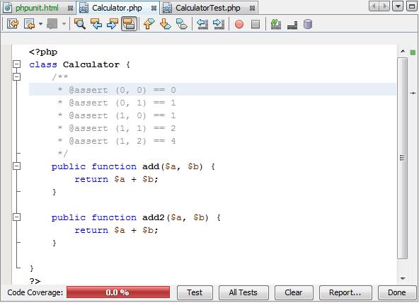 运行测试之前的代码覆盖率编辑器栏
