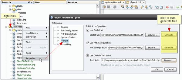 """在项目的""""属性""""对话框中选择 PHPUnit 定制选项"""