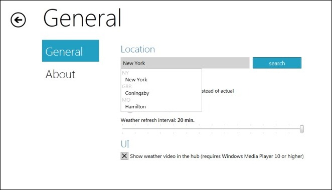 Select City for weather updates 把Win8的Metro UI移植到Win7上