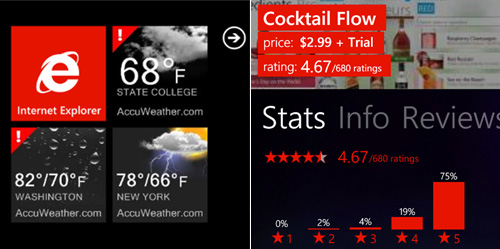 Example of live tiles and accent color, AccuWeather and AppFlow