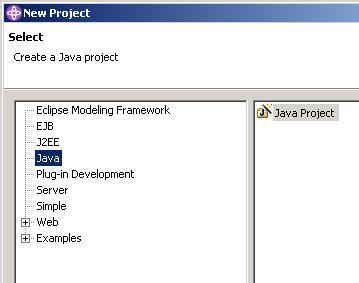 图 1:在 Application Developer 中创建新的 Java 项目