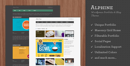 09 alphine wordpress portfolio blog theme in 25 New Portfolio WordPress Themes from ThemeForest