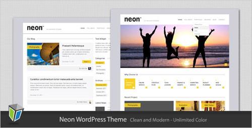 10 neon clean modern wordpress theme in 25 New Portfolio WordPress Themes from ThemeForest
