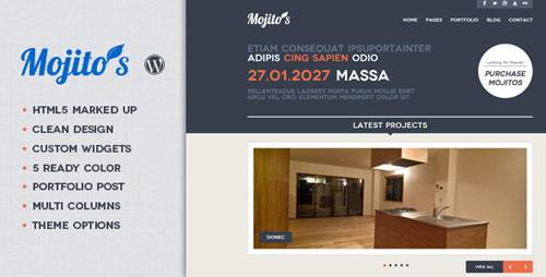 14 mojitos creative portfolio wordpress theme in 25 New Portfolio WordPress Themes from ThemeForest