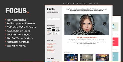 16 focus responsive portoflio business wordpress theme in 25 New Portfolio WordPress Themes from ThemeForest