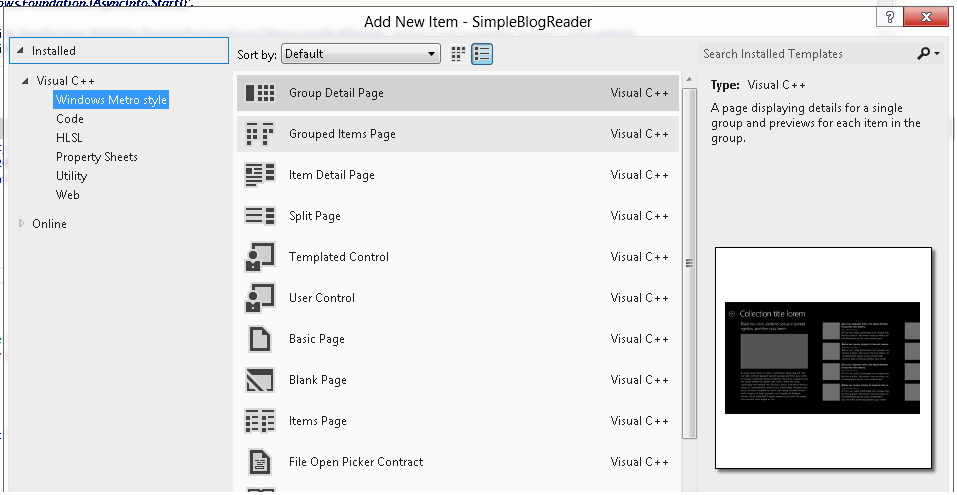 """Visual Studio""""添加新项目""""对话框"""