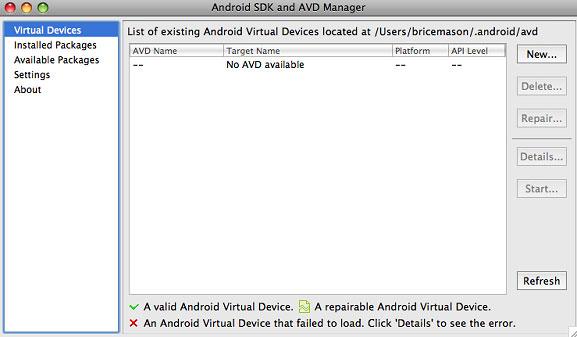 Android SDK 和 AVD Manager 屏幕截图,用于安装附加包和管理虚拟设备
