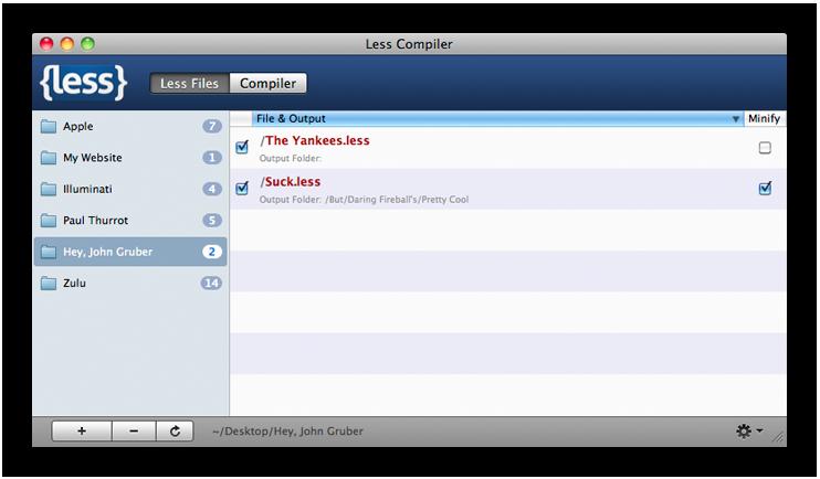 A screenshot of the Less.app window