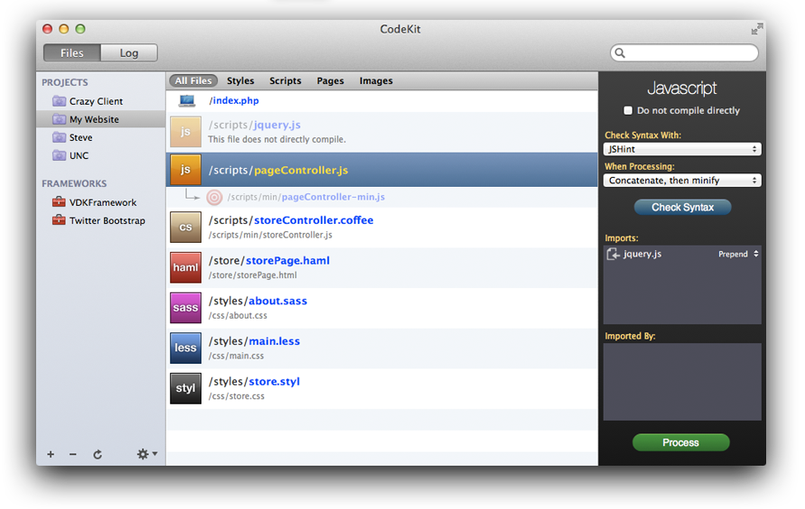 A screenshot of the CodeKit window