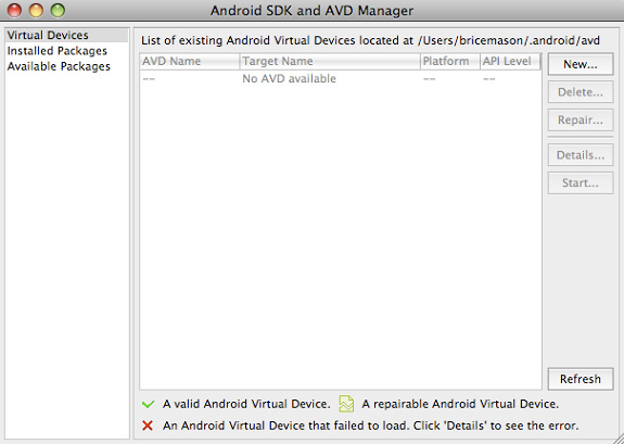 Android SDK 和 AVD Manager 的屏幕截图
