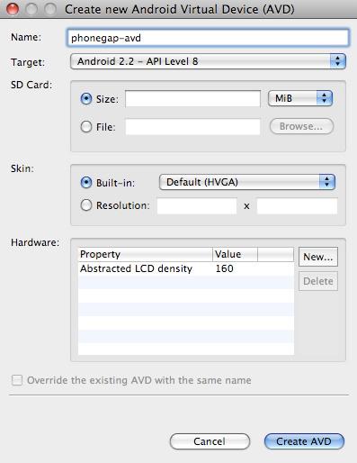 创建新的 Android Virtual Device (AVD) 的屏幕截图