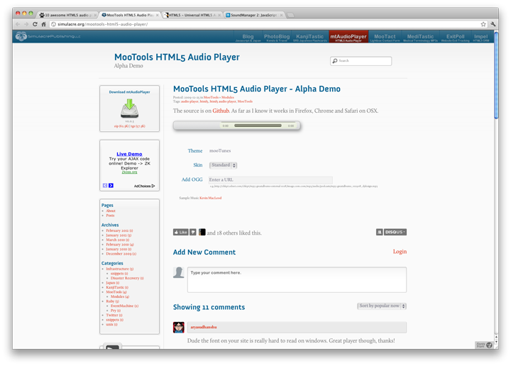 MooTools HTML5 Audio Player