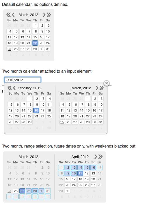 JavaScript日期选择 Kalendae