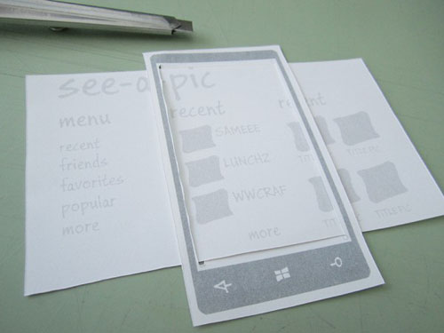 Example of paper prototyping for WP7