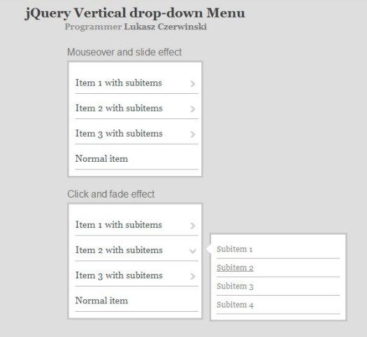 jQuery Vertical Drop-Down Menu