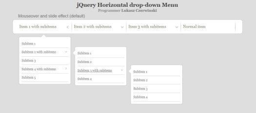 jQuery Horizontal Drop-Down Menu