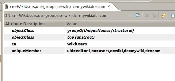 LDAP 浏览器中显示的组详细信息