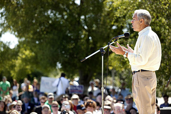 GOP presidential candidate Rep. Ron Paul, shown here in a previous visit to Silicon Valley, calls CI ...
