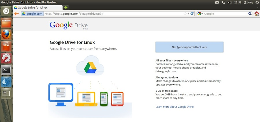 google drive for linux under development