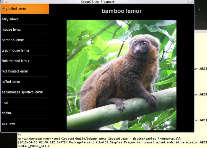运行在一个Linux 工作站的XobotOS