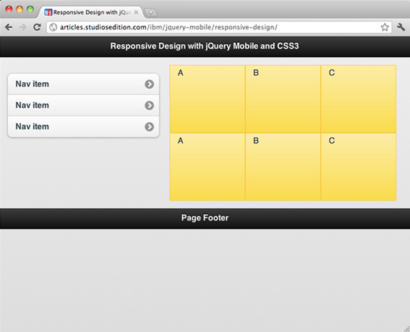 该图显示分辨率较大的设备如何呈现 Web 页面