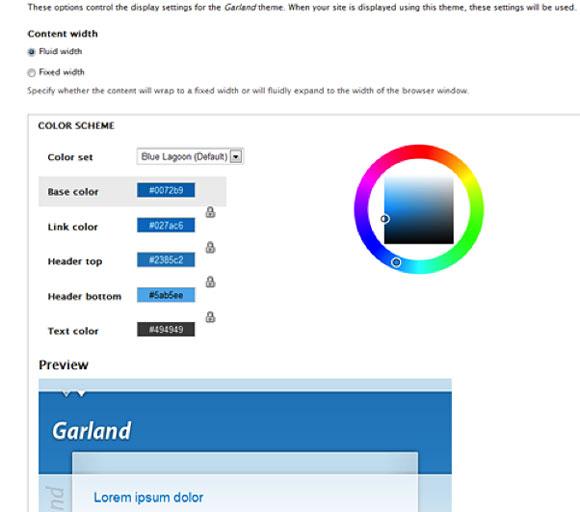 主题设置页面的屏幕截图