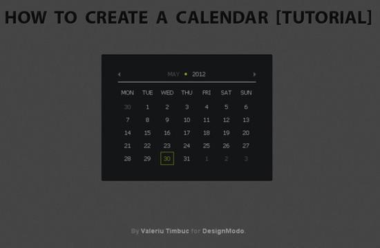 Create Calendar using jQuery and CSS3