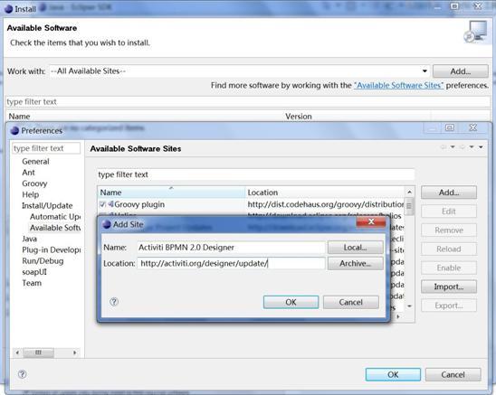 图 3. 添加 Activiti Eclipse Plugin repository