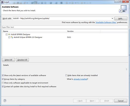 图 4.Activiti Eclipse BPMN 2.0 Designer 安装列表