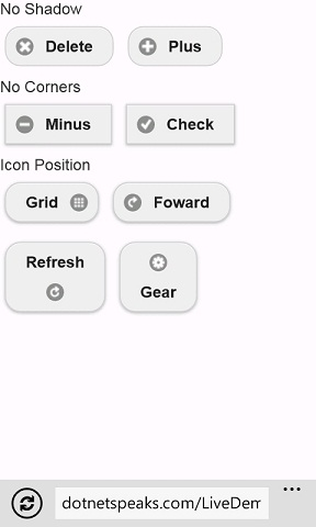 jquery mobile Buttons with shadow no corners icon position
