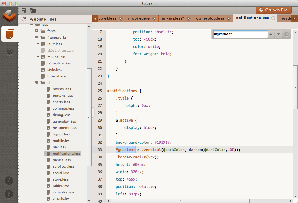 Crunch Less CSS Editor