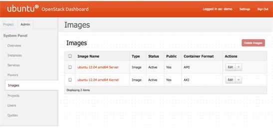 可用来宾映像的 OpenStack Dashboard 视图