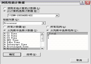 浏览性能计数配置界面