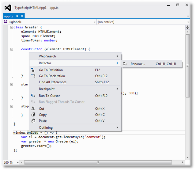 Refactor Goto Definition , HTML Application with TypeScript - Shemeer