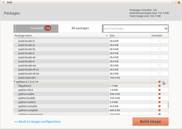 将程序包添加到 HOB 的屏幕截图
