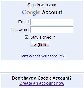 图 5. 登录 Google