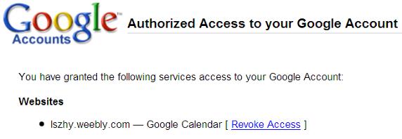 图 8. Authorized OAuth Access to your Google Account