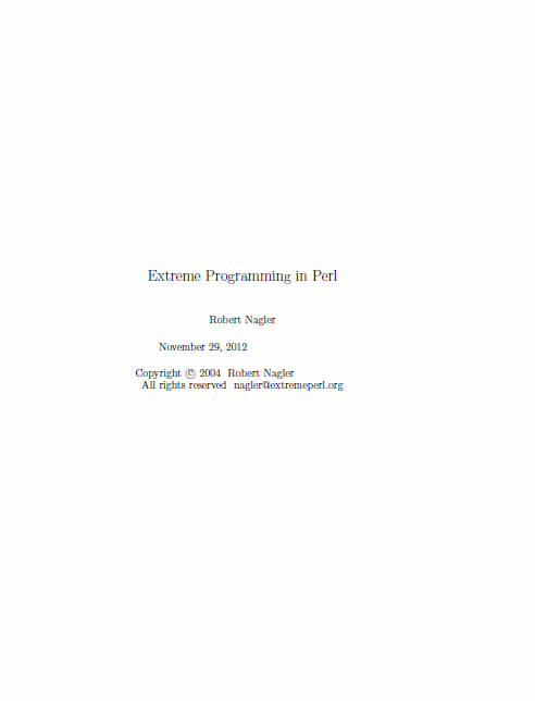 Extreme Programming in Perl