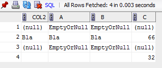 Oracle SQL Developer Results
