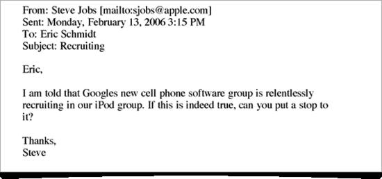 """乔布斯""""互不挖墙脚协议""""电子邮件曝光"""