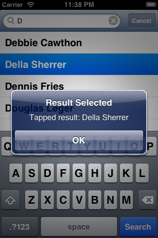 ios Autocompleting Search