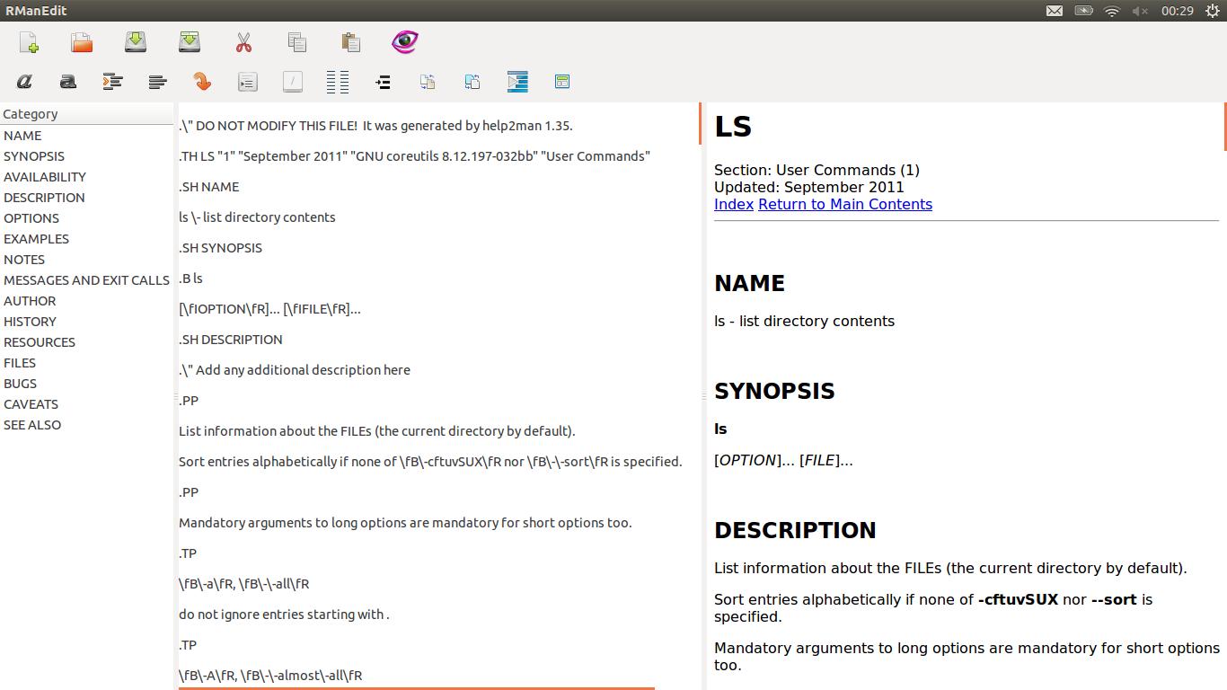 rmanedit是一个图形化的linuxman页面编辑器