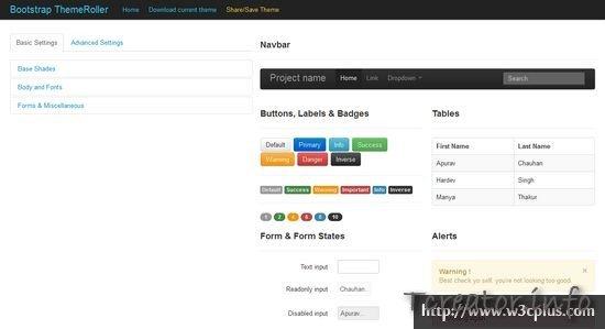 Bootstrap ThemeRoller