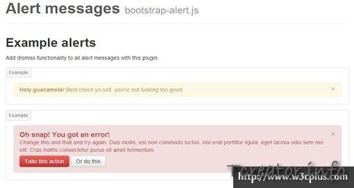 Alert messages bootstrap-alert.js