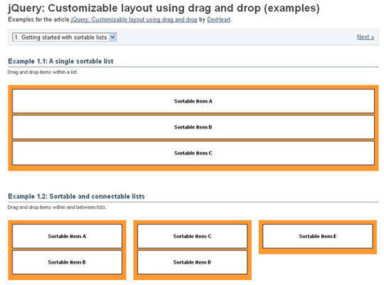 jQuery Customizable layout using drag and drop
